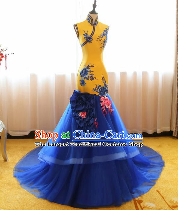Chinese Traditional Compere Full Dress Catwalks Cheongsam Chorus Costume for Women