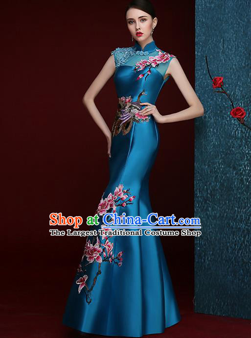 Chinese Traditional Compere Full Dress Embroidered Mangnolia Blue Cheongsam Chorus Costume for Women