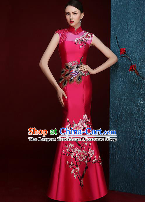 Chinese Traditional Compere Full Dress Embroidered Mangnolia Rosy Cheongsam Chorus Costume for Women
