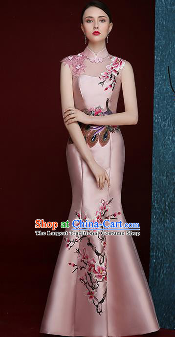 Chinese Traditional Compere Full Dress Embroidered Mangnolia Pink Cheongsam Chorus Costume for Women