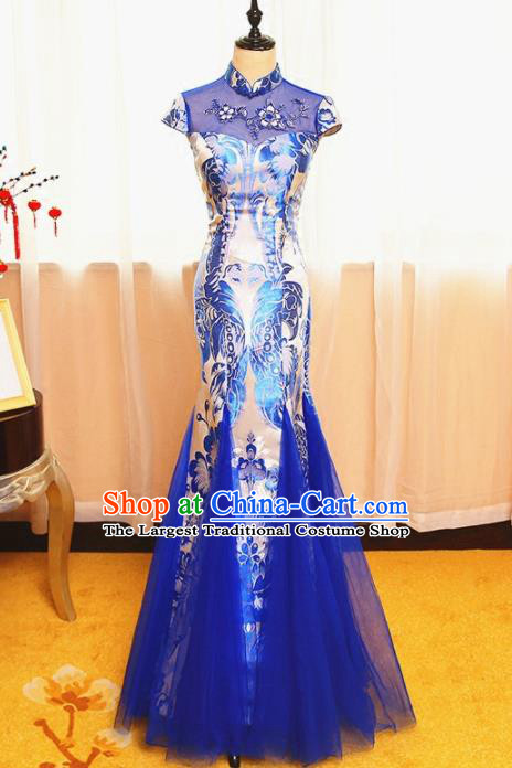 Chinese Traditional Catwalks Blue Veil Cheongsam Compere Chorus Costume for Women