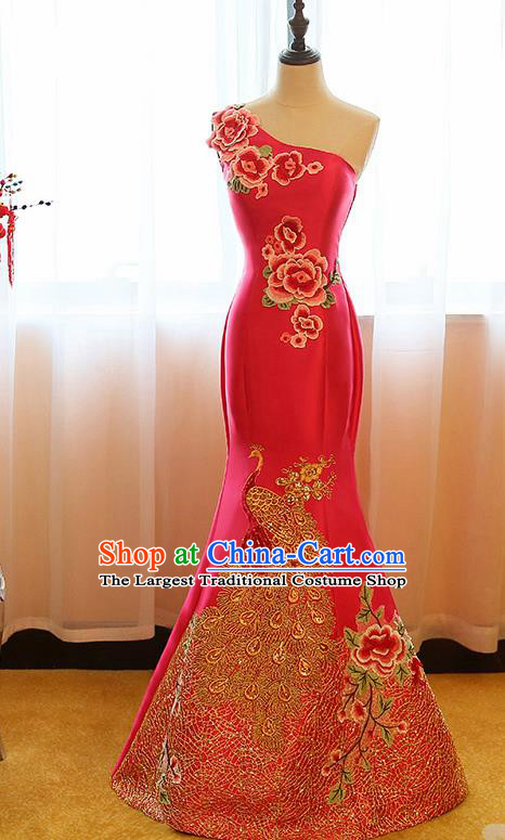 Chinese Traditional Compere Rosy Full Dress Cheongsam Chorus Costume for Women
