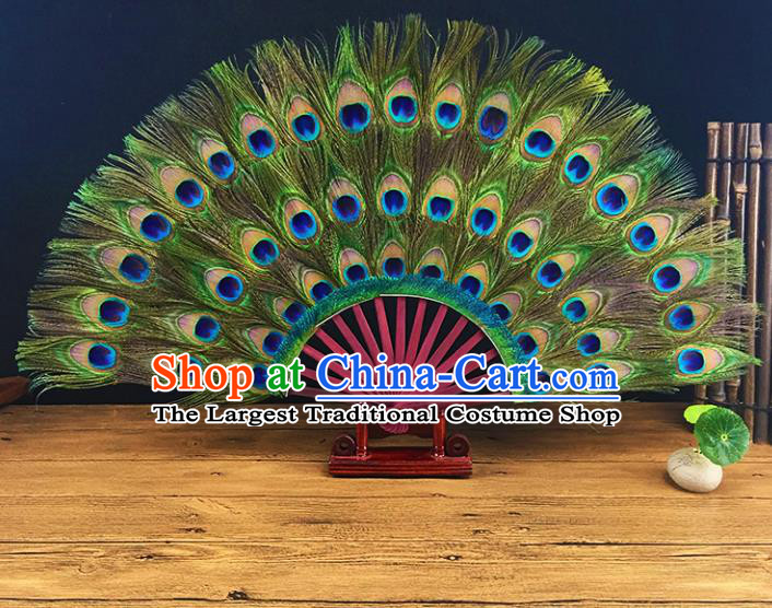 Chinese Traditional Craft Folding Fans Peacock Feather Fans for Women