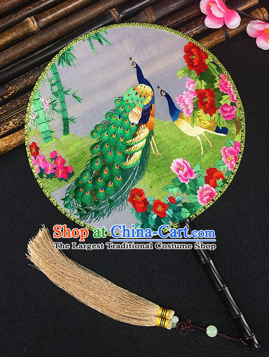 Chinese Traditional Craft Embroidered Peacock Palace Fans Round Fan for Women