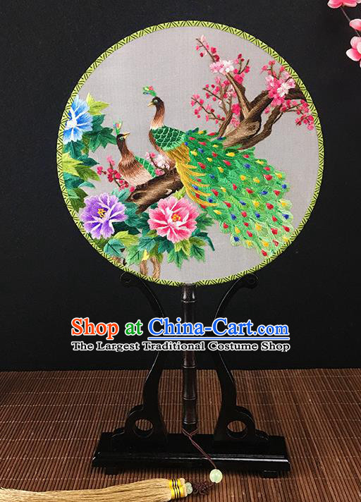 Chinese Traditional Craft Embroidered Peacock Wintersweet Palace Fans Round Fan for Women