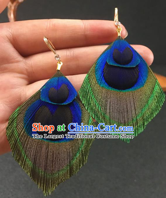 Chinese National Earrings Peacock Feather Earrings for Women