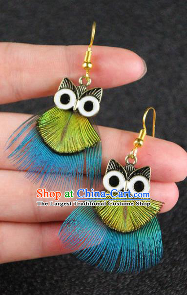 Chinese National Earrings Feather Owl Earrings for Women