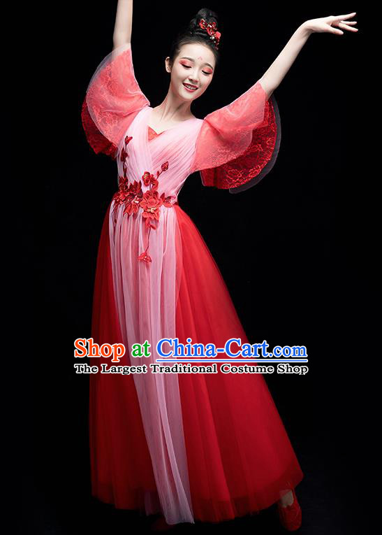 Chinese Traditional Chorus Costumes Modern Dance Red Dress for Women