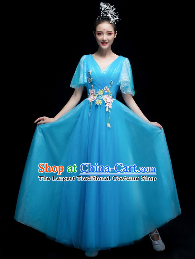 Chinese Traditional Chorus Costumes Modern Dance Blue Dress for Women