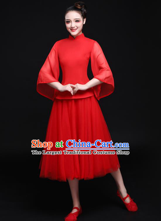 Chinese Traditional Classical Dance Red Dress Compere Tang Suit Costume for Women