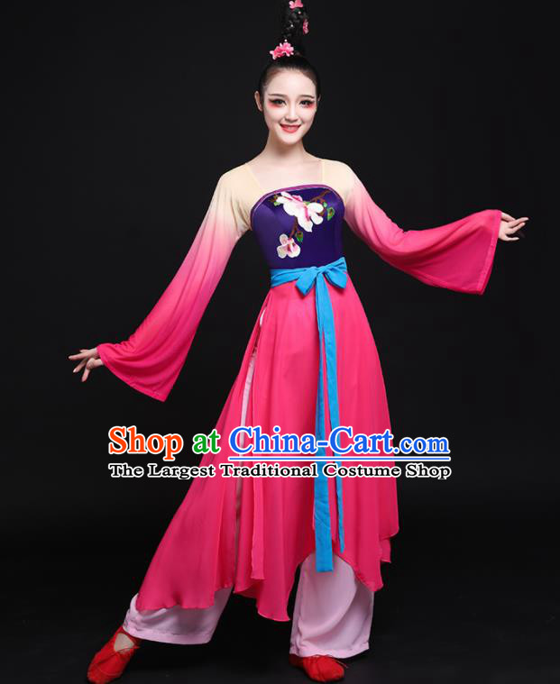 Chinese Traditional Classical Dance Rosy Dress Folk Dance Costume for Women