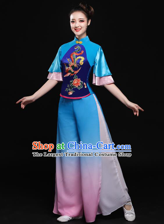 Chinese Traditional Classical Dance Blue Clothing Folk Dance Yangko Costume for Women