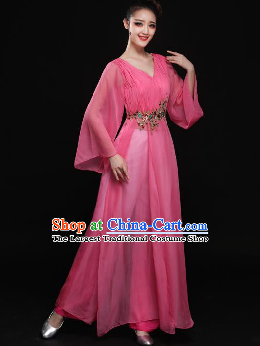 Chinese Traditional Classical Dance Pink Clothing Folk Dance Umbrella Dance Costume for Women