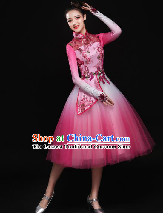 Chinese Traditional Classical Dance Pink Dress Umbrella Dance Chorus Costume for Women