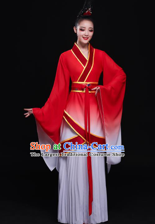 Chinese Traditional Classical Dance Dress Ancient Fairy Umbrella Dance Costume for Women