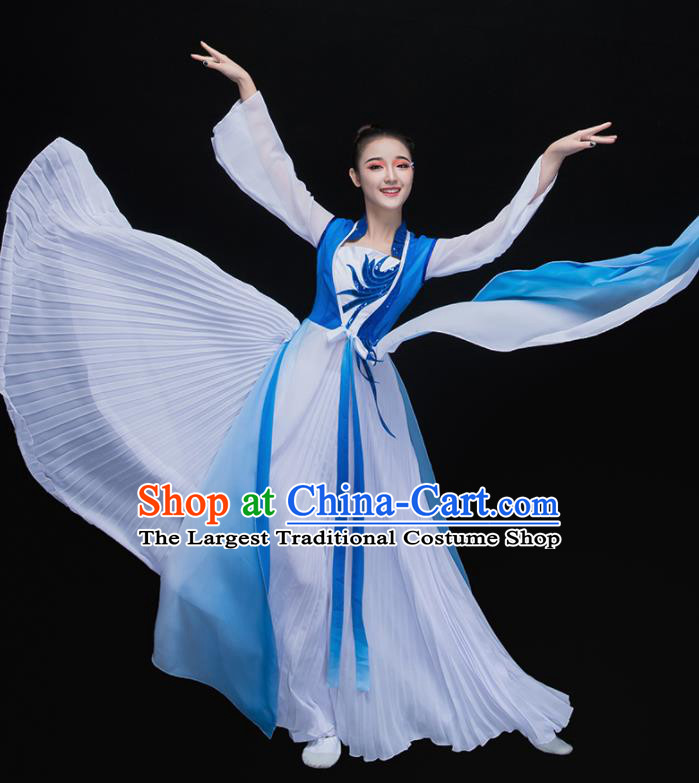Chinese Traditional Fan Dance Classical Dance Blue Dress Umbrella Dance Costume for Women