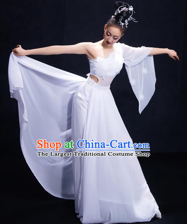 Chinese Traditional Umbrella Dance White Dress Classical Dance Costume for Women