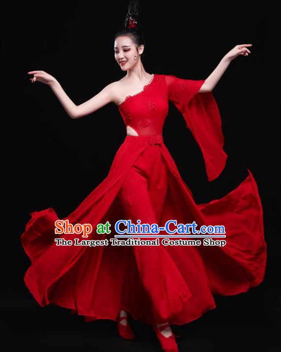 Chinese Traditional Umbrella Dance Red Dress Classical Dance Costume for Women