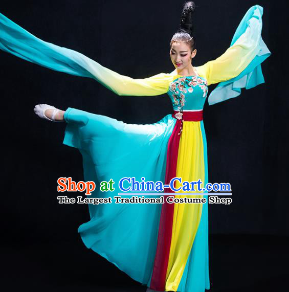 Chinese Traditional Umbrella Dance Blue Clothing Classical Dance Costume for Women