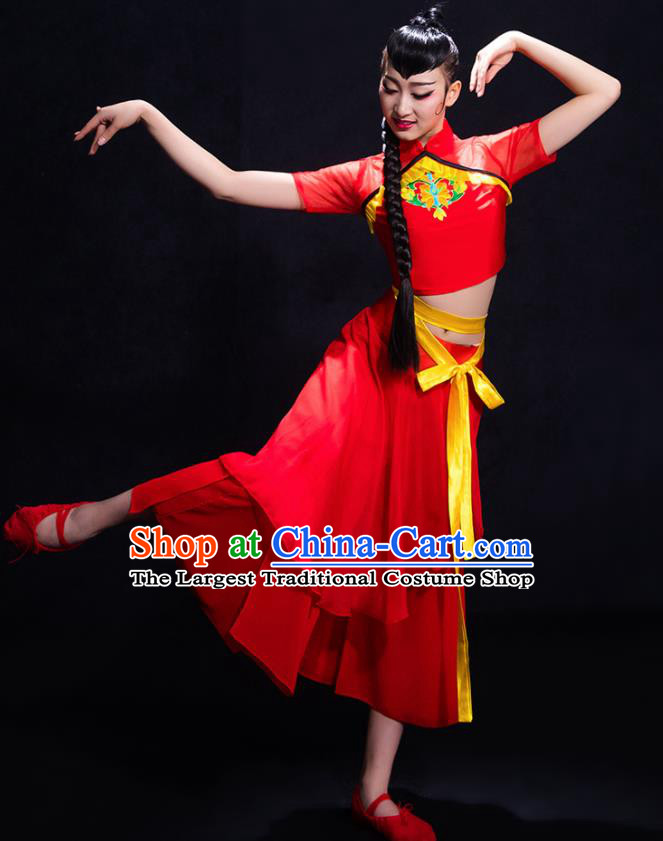 Chinese Traditional Fan Dance Yangko Red Clothing Classical Dance Costume for Women