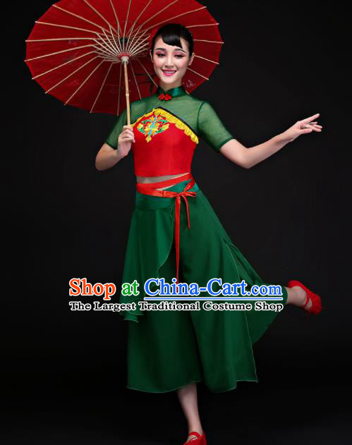 Chinese Traditional Fan Dance Yangko Green Clothing Classical Dance Costume for Women