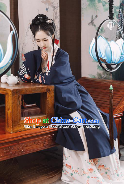 Traditional Chinese Ming Dynasty Costume Embroidered Navy Cloak for Rich Women
