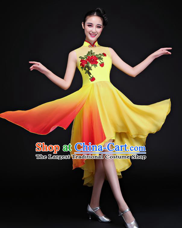 Chinese Traditional Umbrella Dance Yellow Dress Classical Dance Chorus Costume for Women