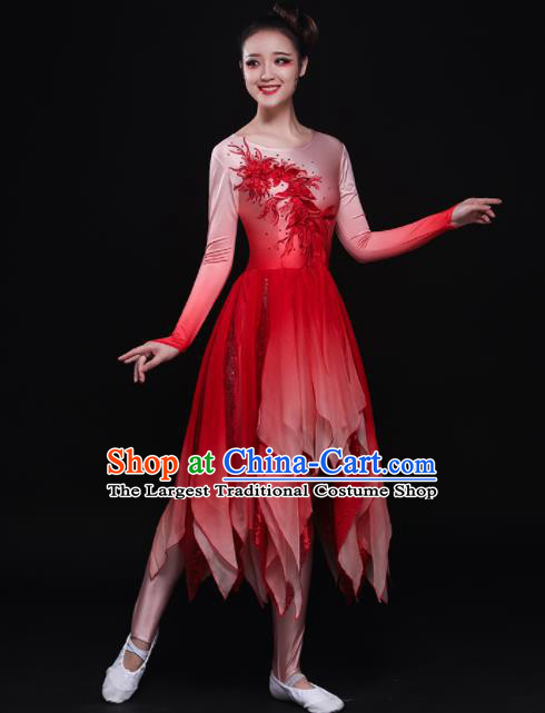 Professional Chorus Costumes Modern Dance Red Dress for Women