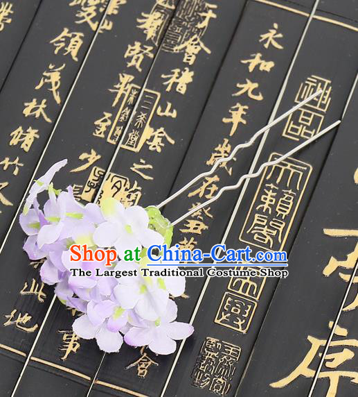 Chinese Traditional Hair Accessories Ancient Tang Dynasty Purple Flowers Hairpins for Women