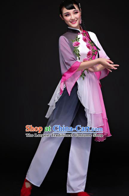 Chinese Traditional Umbrella Dance Folk Dance Clothing Classical Dance Costume for Women