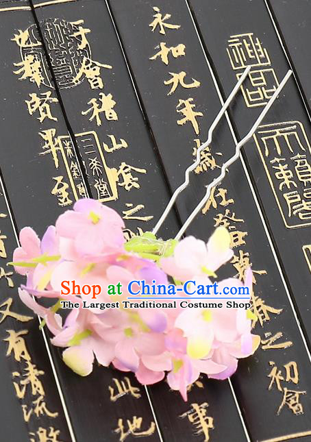 Chinese Traditional Hair Accessories Ancient Tang Dynasty Pink Flowers Hairpins for Women