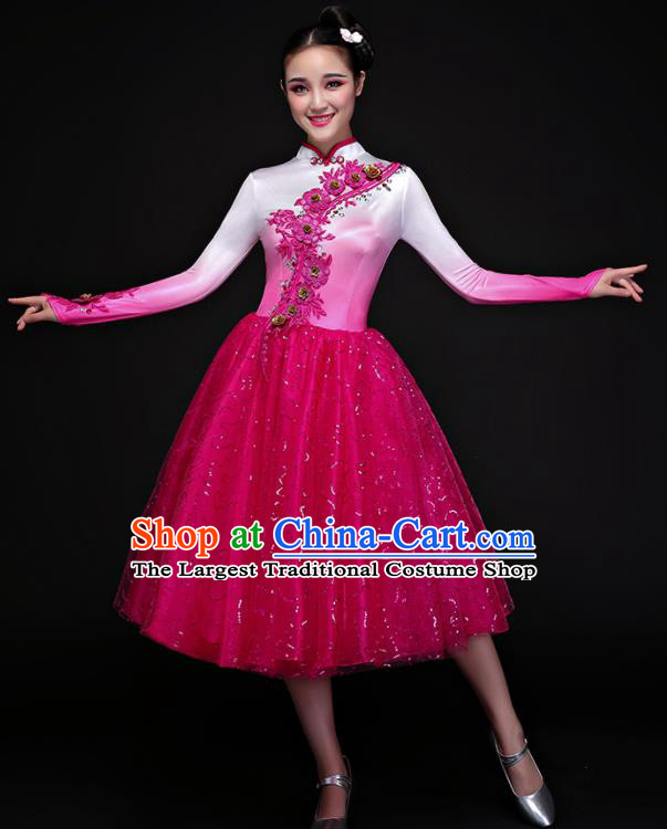 Chinese Traditional Chorus Folk Dance Rosy Dress Classical Dance Costume for Women