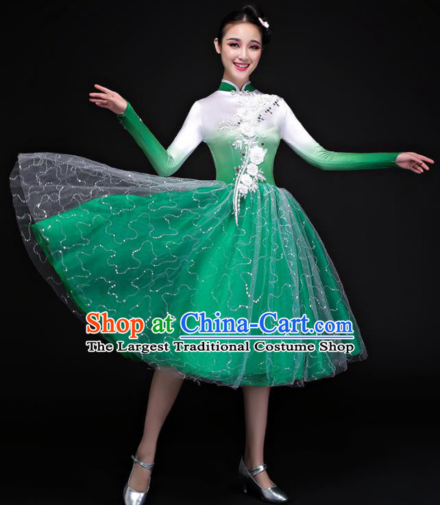 Chinese Traditional Chorus Folk Dance Green Dress Classical Dance Costume for Women