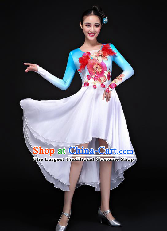 Professional Chorus Costumes Modern Dance Folk Dance Compere Blue Dress for Women