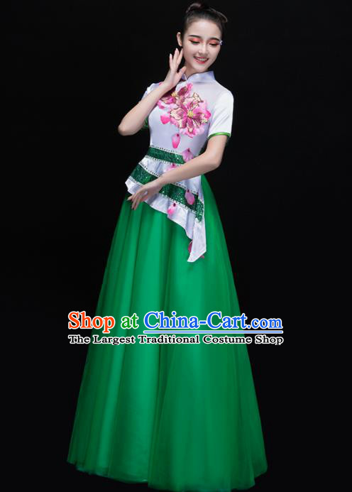 Professional Chorus Costumes Chinese Classical Dance Folk Dance Compere Green Dress for Women