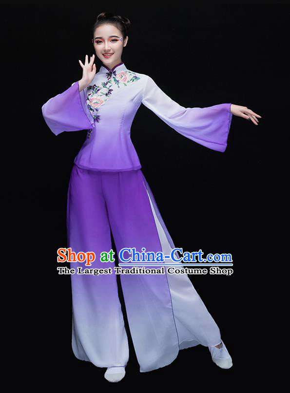 Chinese Traditional Folk Dance Yangko Purple Clothing Classical Fan Dance Costume for Women