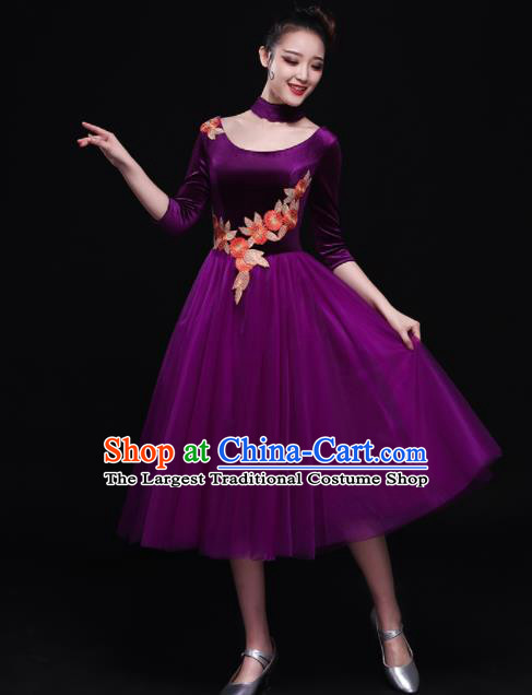 Professional Chorus Costumes Modern Dance Purple Dress for Women