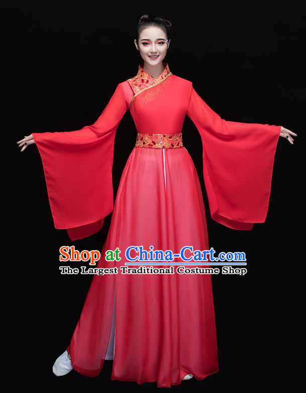 Chinese Traditional Folk Dance Red Dress Classical Fan Dance Costume for Women