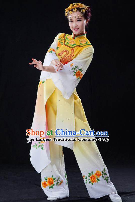 Chinese Traditional Folk Dance Yangko Yellow Clothing Classical Fan Dance Costume for Women