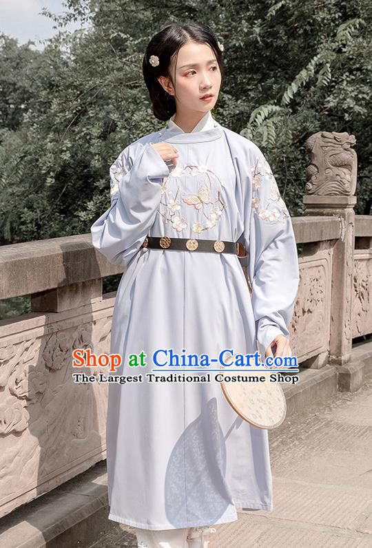 Chinese Traditional Costume Swordswoman Blue Embroidered Robe for Women