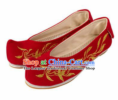 Asian Chinese Ancient Red Embroidered Shoes Traditional Hanfu Shoes Embroidered Shoes for Women