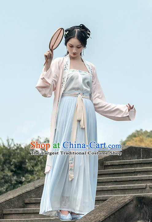 Chinese Traditional Song Dynasty Young Lady Costume Ancient Embroidered Pink Hanfu Dress for Rich Women