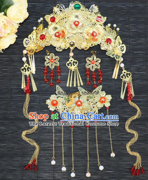 Chinese Traditional Hair Accessories Ancient Hanfu Phoenix Coronet Butterfly Hairpins Complete Set for Women