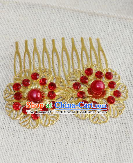 Chinese Traditional Hair Accessories Ancient Hanfu Golden Hair Comb Hairpins for Women