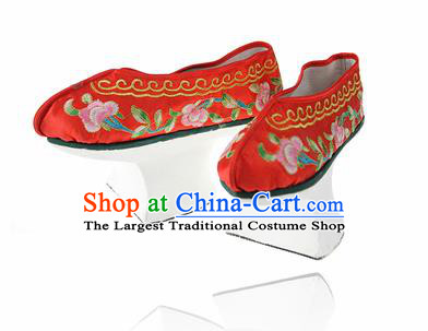 Asian Chinese Ancient Qing Dynasty Palace Saucers Shoes Traditional Red Embroidered Shoes for Women