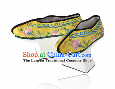 Asian Chinese Ancient Qing Dynasty Palace Saucers Shoes Traditional Yellow Embroidered Shoes for Women