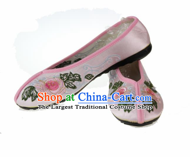 Asian Chinese Ancient Pink Blood Stained Shoes Traditional Embroidered Shoes for Women