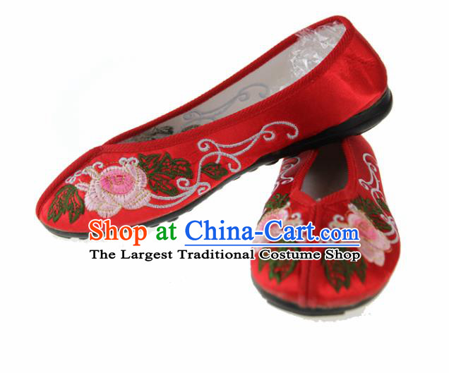 Asian Chinese Ancient Red Blood Stained Shoes Traditional Embroidered Shoes for Women
