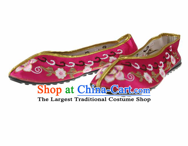 Asian Chinese Traditional Rosy Blood Stained Shoes Ancient Embroidered Shoes for Women