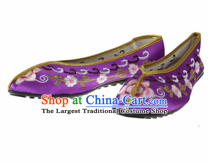 Asian Chinese Traditional Purple Blood Stained Shoes Ancient Embroidered Shoes for Women